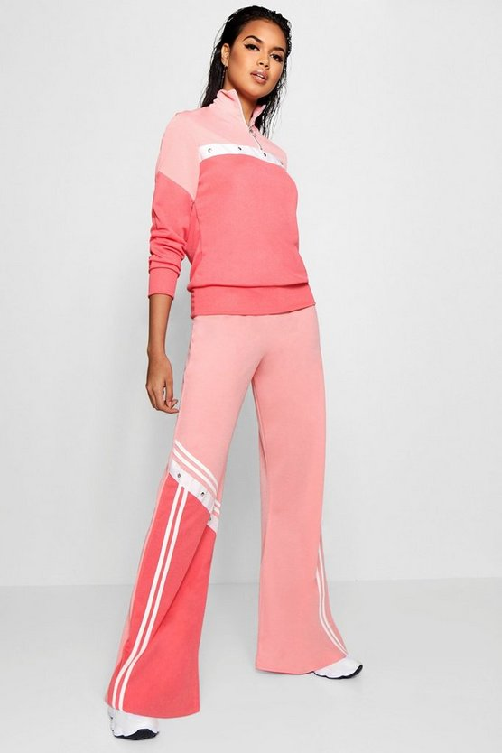 Amelie Sports Stripe Popper Wide Leg Trouser