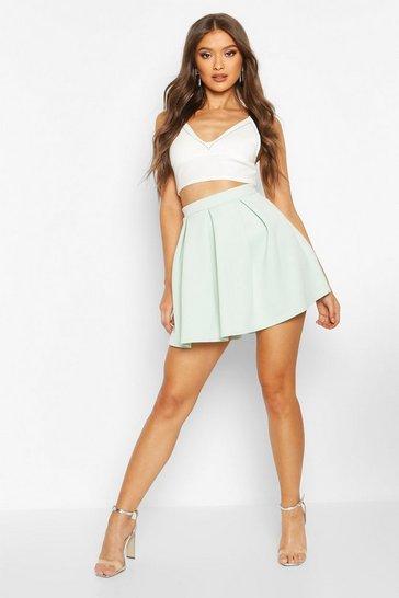 Mint Basic Scuba Box Pleat Mini Skater Skirt