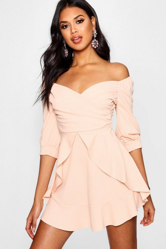 Theresa Ruffle Detail Wrap Skater Dress
