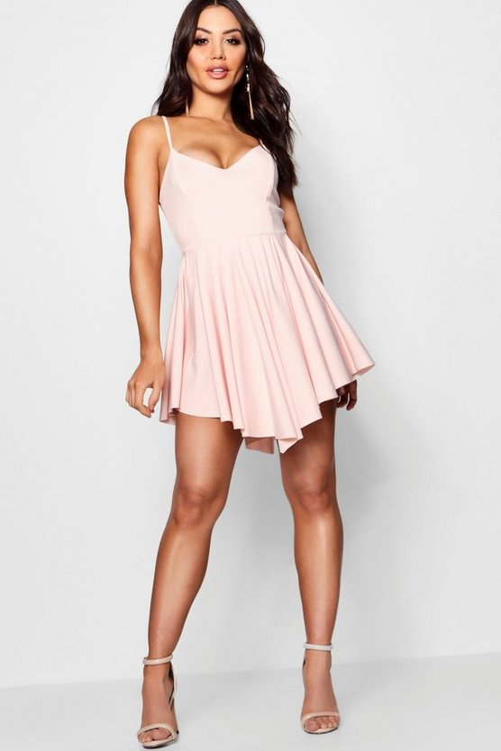Scuba Strappy Pleated Skater Dress