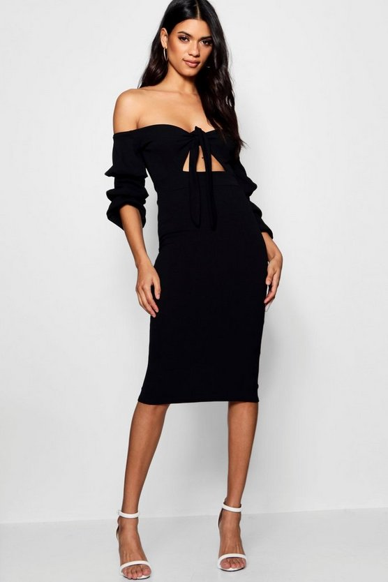 Nicole Off the Shoulder Tie Front Midi Dress