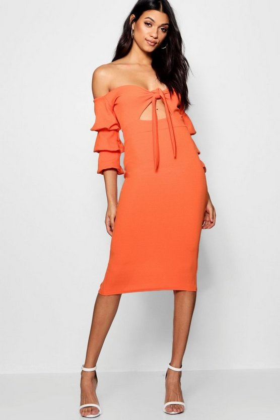 Off the Shoulder Tie Front Midi Dress