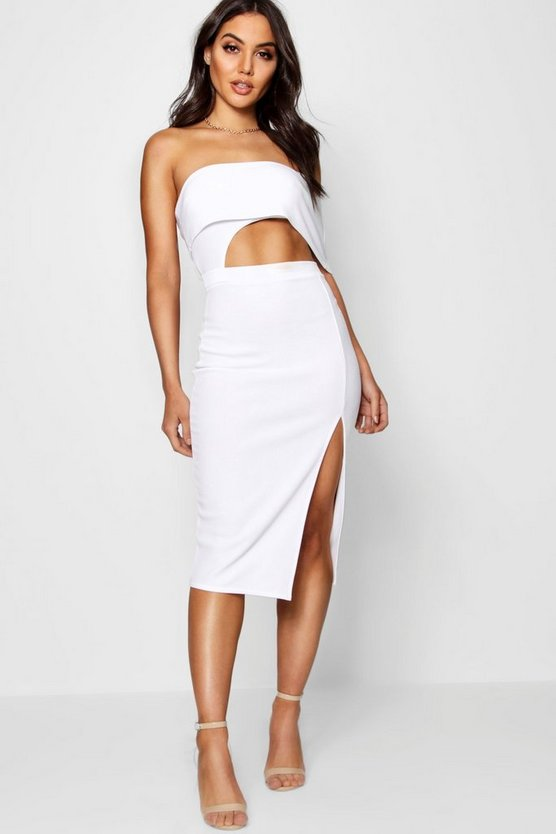 Off the Shoulder Cut Out Midi Dress