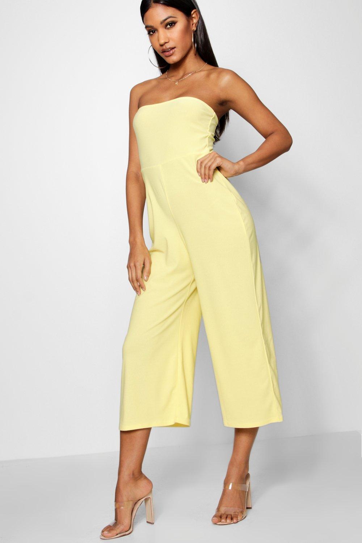 Womens Bandeau-Jumpsuit mit Hosenrock - gelb - 36, Gelb - Boohoo.com