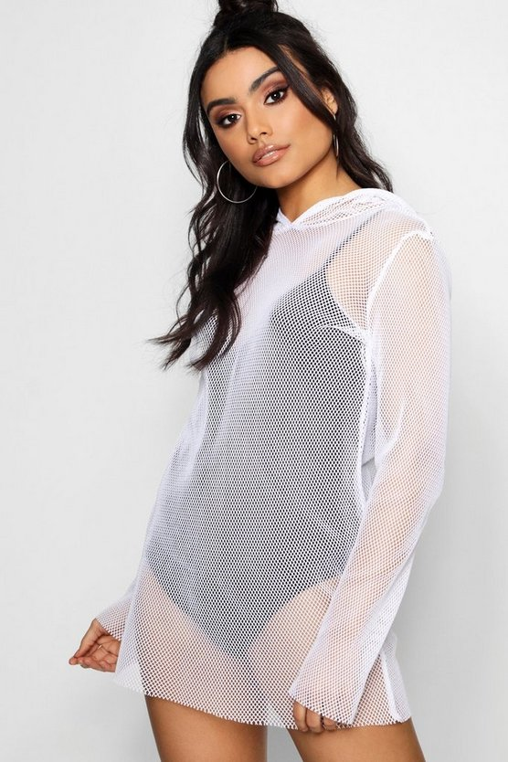 Milly Fishnet Oversized Hoodie Dress