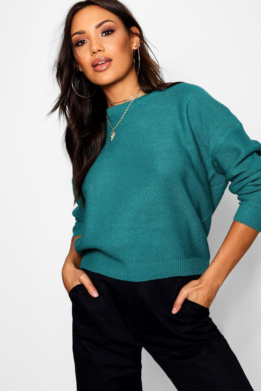 Womens Kastiger Pullover mit quadratischem Ausschnitt - Petrol - XS, Petrol - Boohoo.com