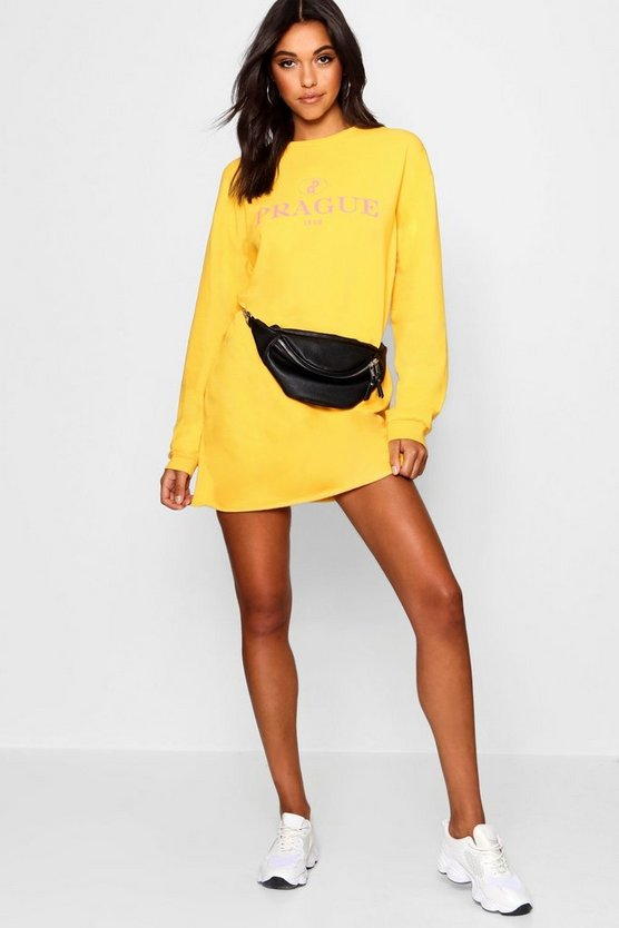 Slogan Printed Sweat Dress