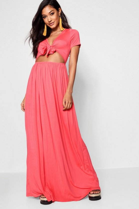 Christine Knot Front Short Sleeve Maxi Dress by Boohoo