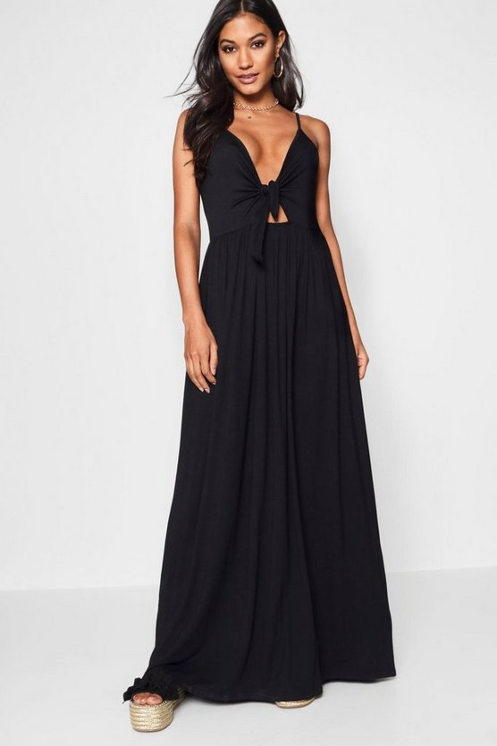 Mary Knot Front Floor Sweeping Maxi Dress