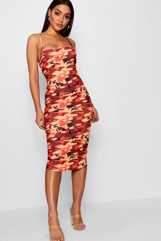 Rita Camo Square Neck Bodycon Midi Dress