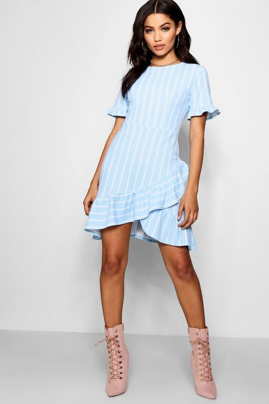 Asymmetric Ruffle Hem Stripe Shift Dress