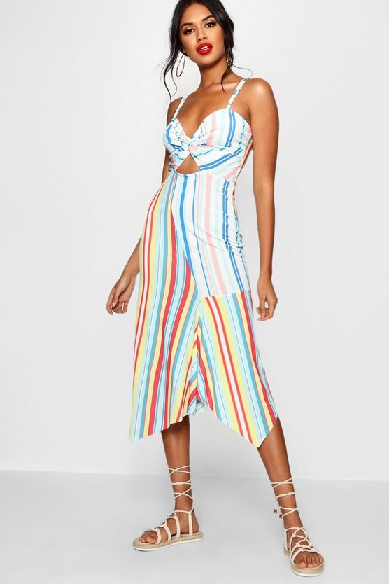 Knot front Asymmetric Hem Midi Dress