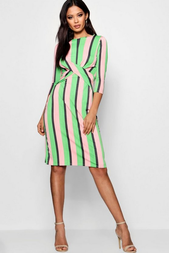 Bella Striped Wrap Front Midi Dress