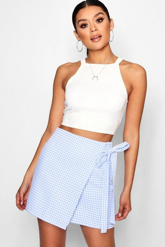 Lois Gingham Woven Wrap Tie Mini Skirt
