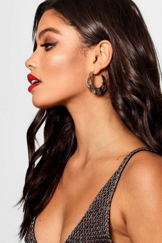 Yasmin Hammered Plate Hoop Earrings