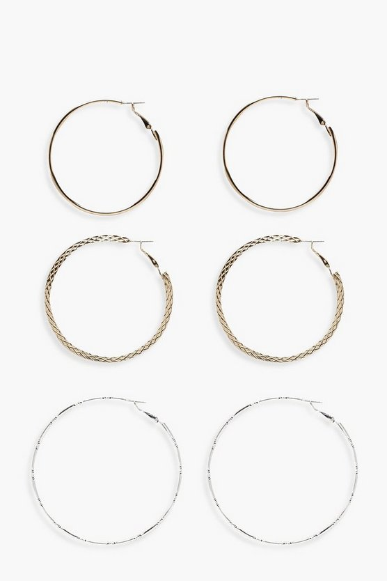 Rosie Mixed Metals Hoop Set 3pk
