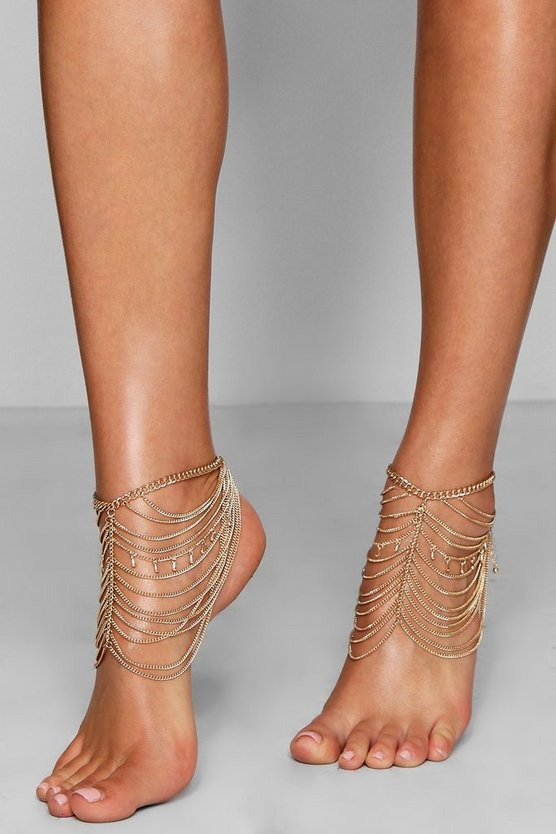 Hope Statement Layered Chain Anklet Pair