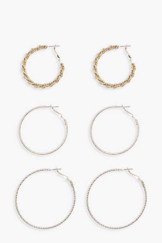 Amy Mixed Size Hoop Earrings 3 Pack