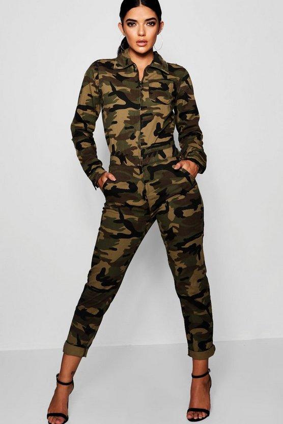 Krissy Camo Denim Boiler Suit by Boohoo
