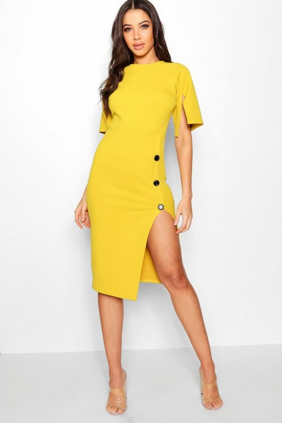 Split Sleeve Button Midi Dress