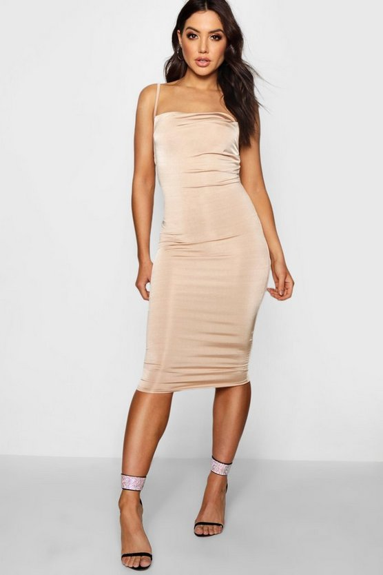 Maisie Strappy Slinky Cowl Neck Midi Dress