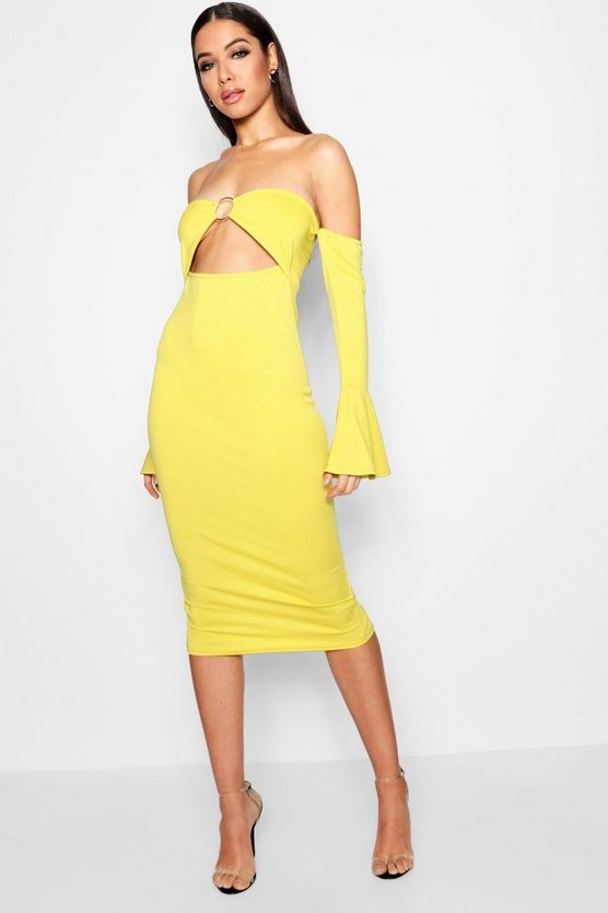 Raya Off The Shoulder Cut Out Midi Dress