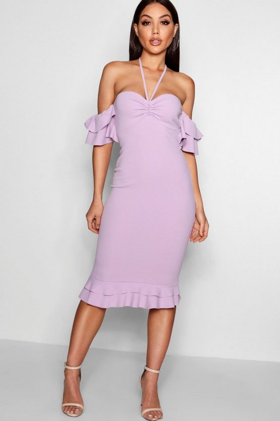 Rebecca Double Ruffle Off The Shoulder Midi Dress