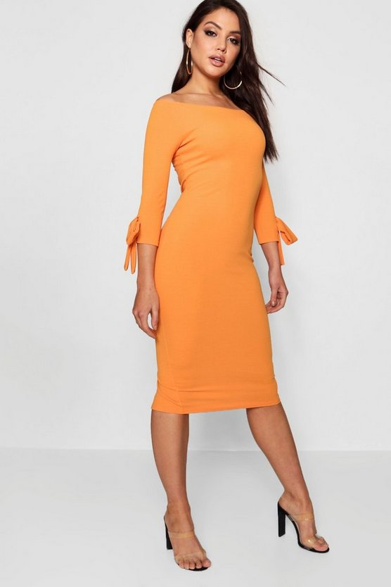 Off The Shoulder Contrast Bow Midi Dress