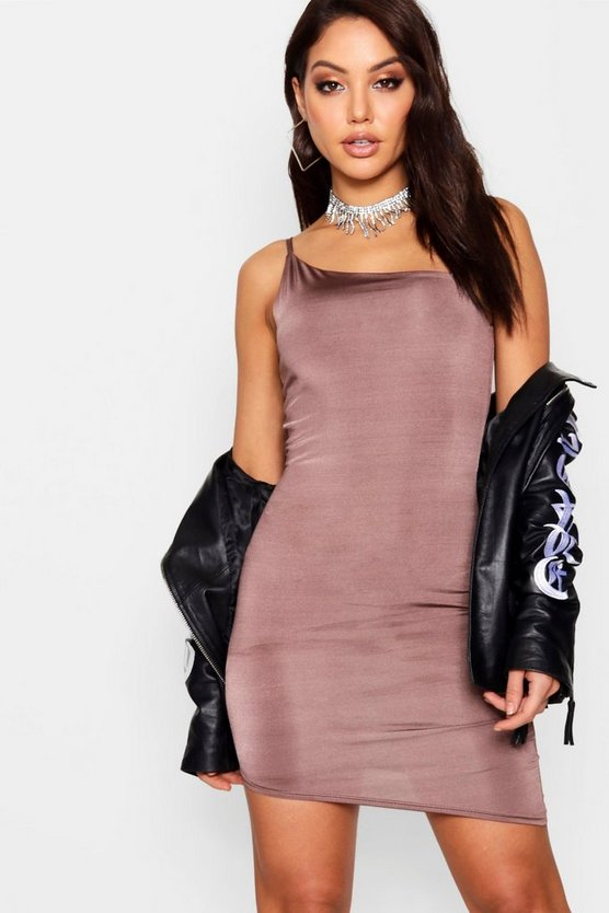 Lo Strappy Asymmetric Slinky Bodycon Dress