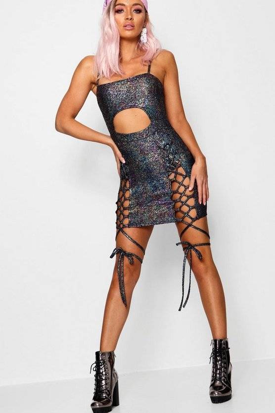 Iya Glitter Square Neck Lace Up Leg Bodycon Dress
