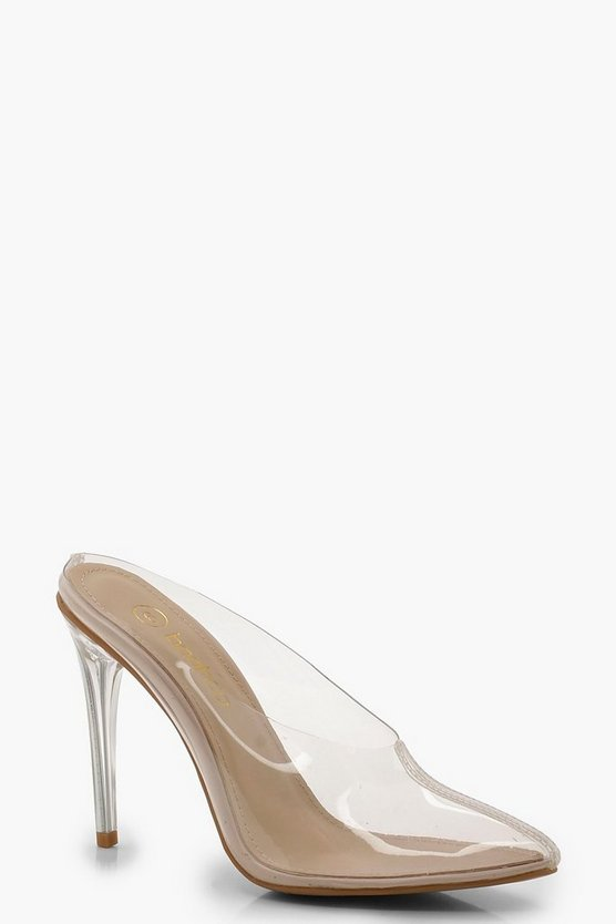 Isla Clear Pointed Toe Mule Heels