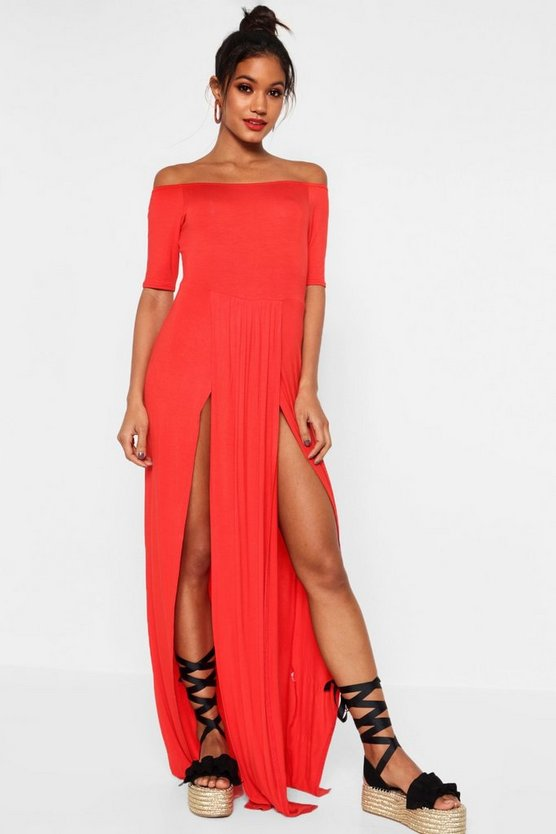 Mia Half Sleeve Double Front Split Maxi Dress
