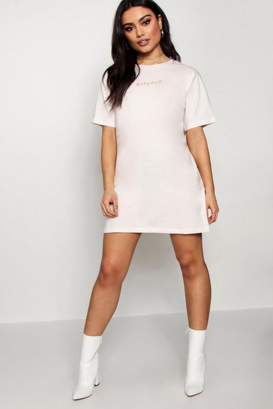 Kris Babydoll Tonal Embroidered T-Shirt Dress