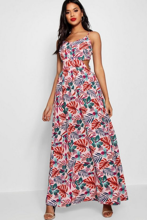 Tropical Print Tie Back Cami Maxi Dress