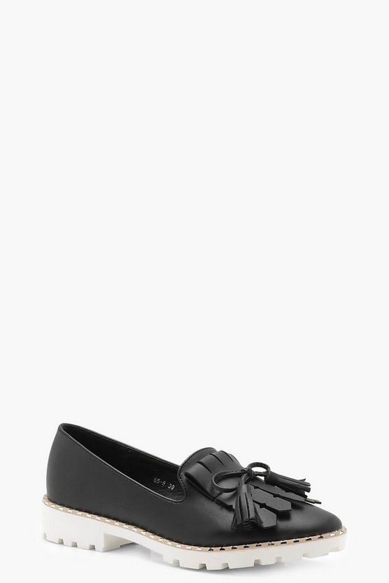 Cleated Fringe Trim Loafers