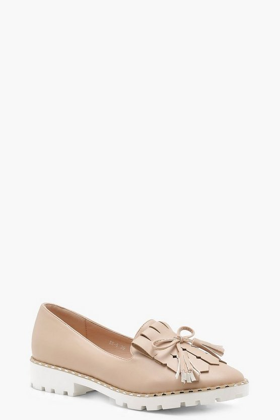 Rebecca Cleated Fringe Trim Loafers