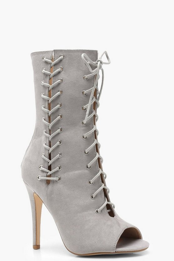 Holly Lace Up Insert Peeptoe Shoeboots