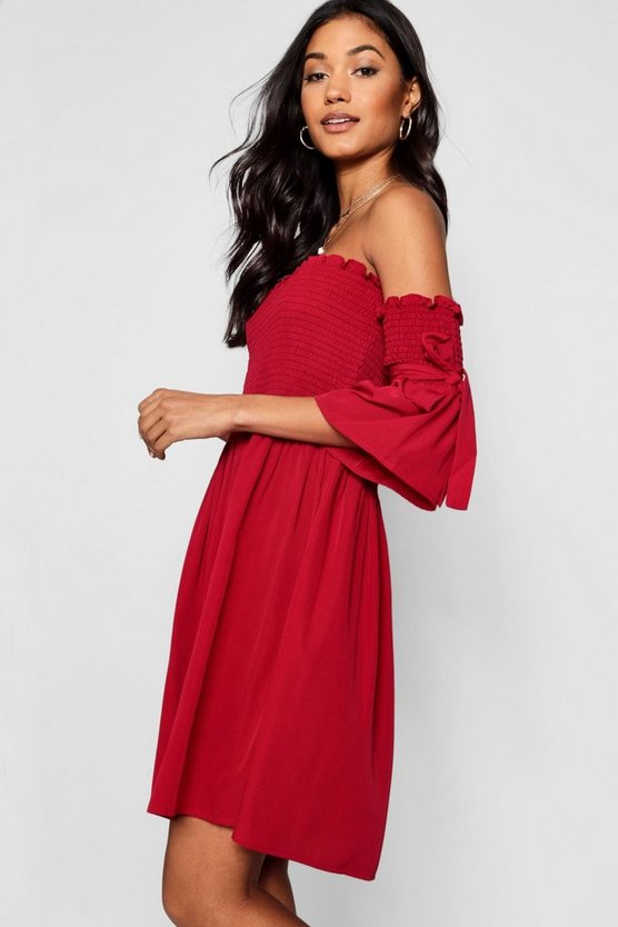 Shirred Bardot Tie Sleeve Skater Dress