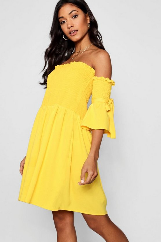 Joyce Shirred Bardot Tie Sleeve Skater Dress