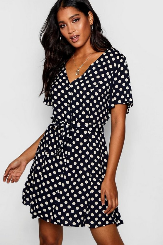 Belted Woven Polka Dot Tea Dress