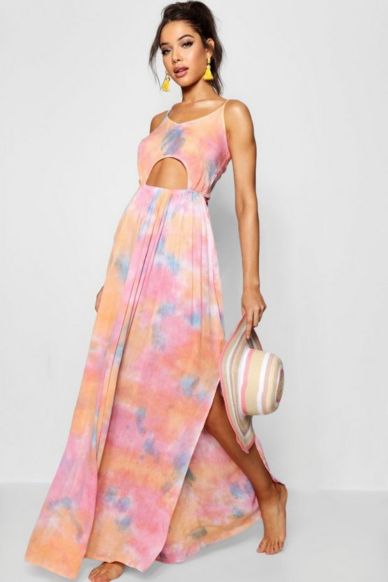 Tie Dye Cut Out Beach Dress