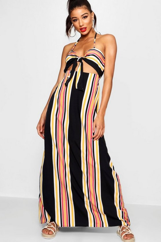 Knot Front Cut Work Striped Maxi Dress