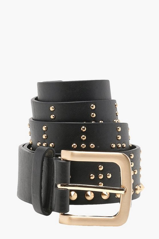 Christina Cross Studded Boyfriend Belt