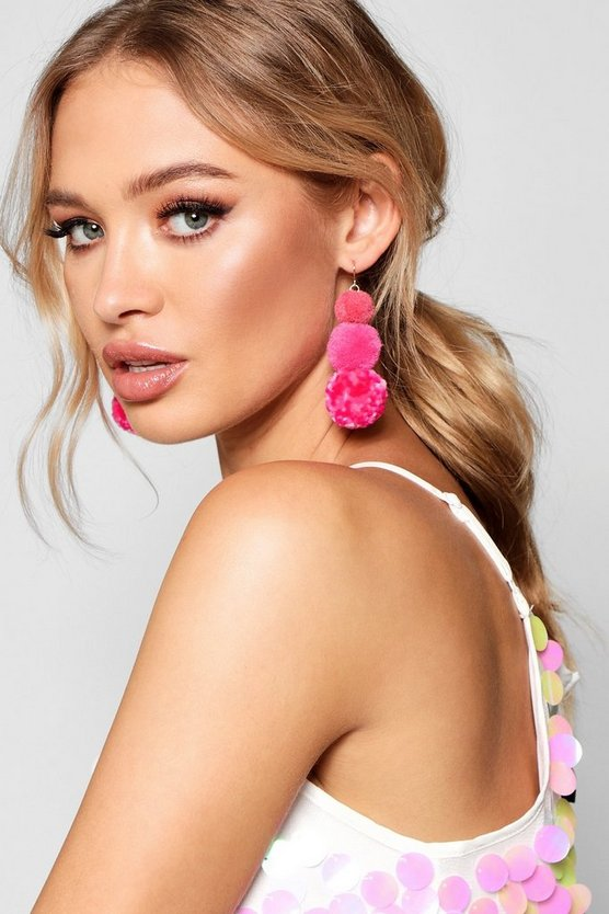 Ella Tiered Mixed Pom Earrings