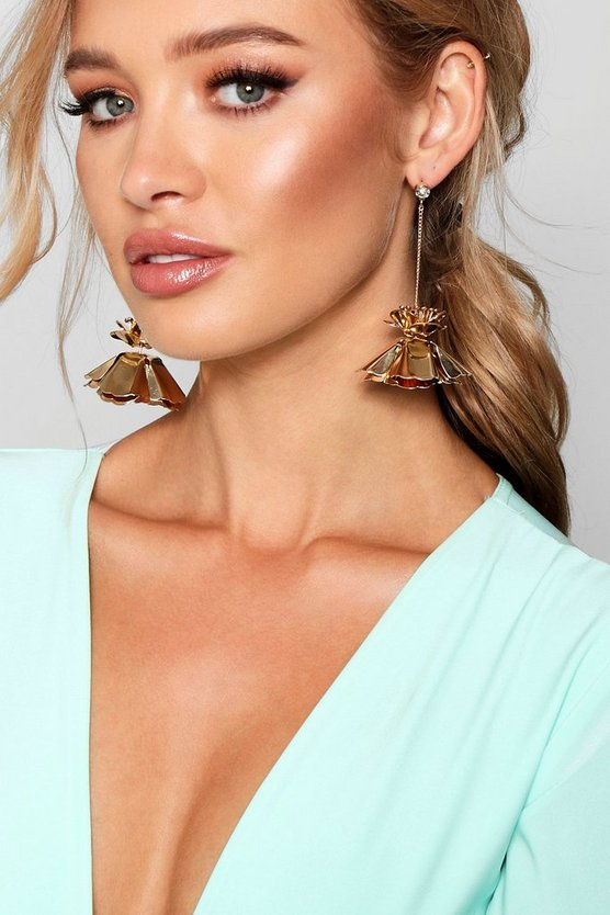 Statement Metal Floral Drop Earrings