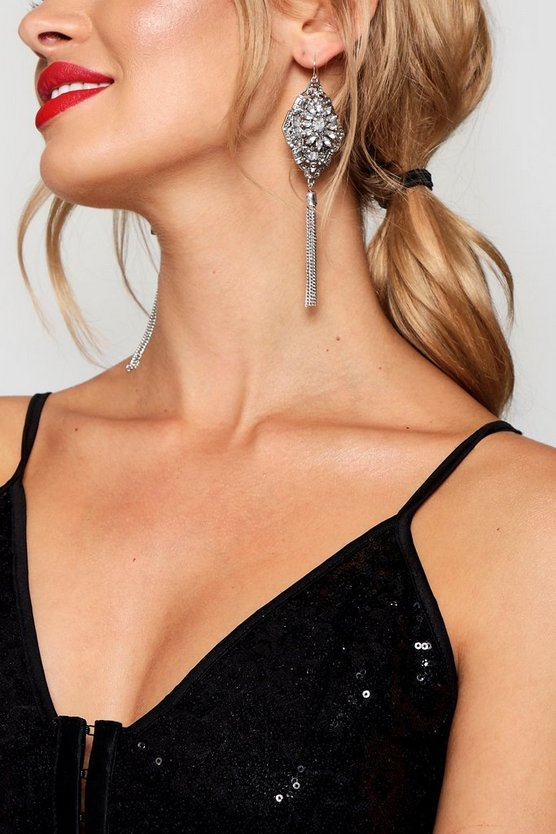 Statement Diamante Tassel Earrings