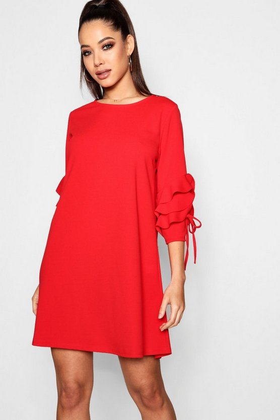 Tie Ruffle Sleeve Dress