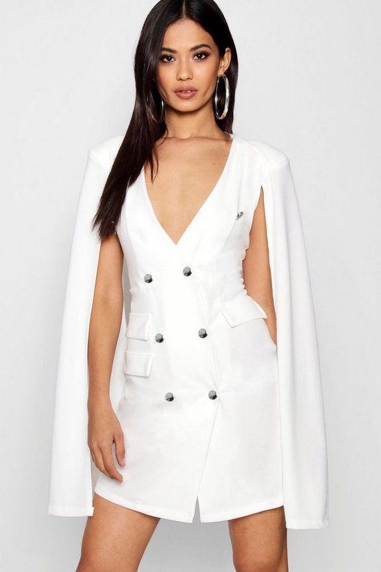 Double Breasted Cape Sleeve Tux Dress