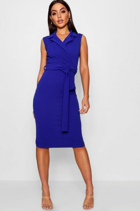Belted Wrap Lapel Midi Dress