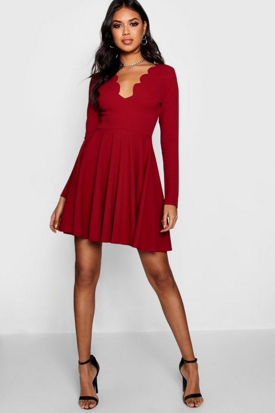 Long Sleeve Scallop Edge Skater Dress